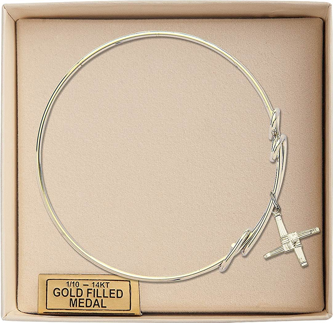 Brigid Cross Charm On A 8 1//2 Inch Round Double Loop Bangle Bracelet St