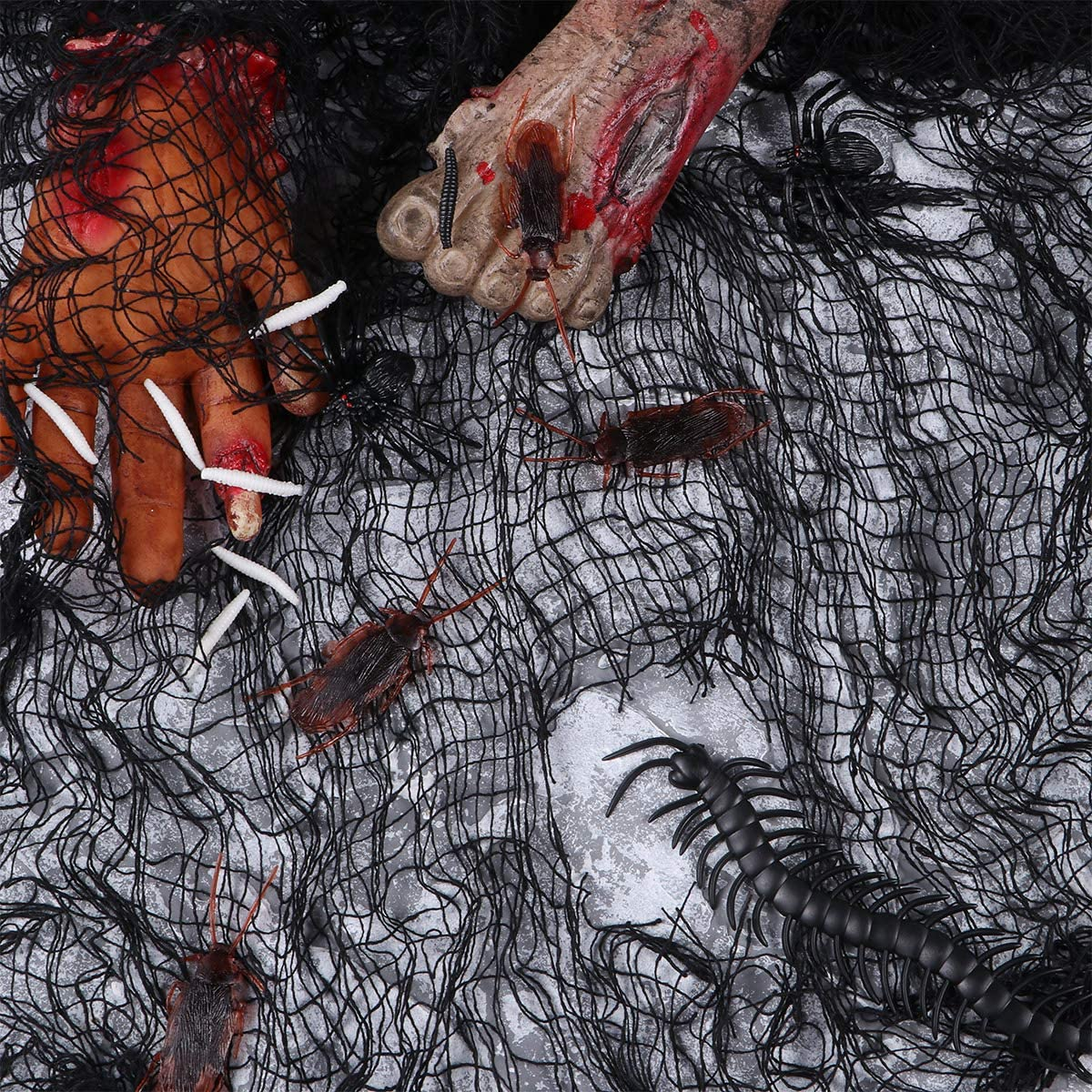 Halloween Haunted House Creepy Cloth Decoration Gauze for Halloween Decor 3PCS, Black