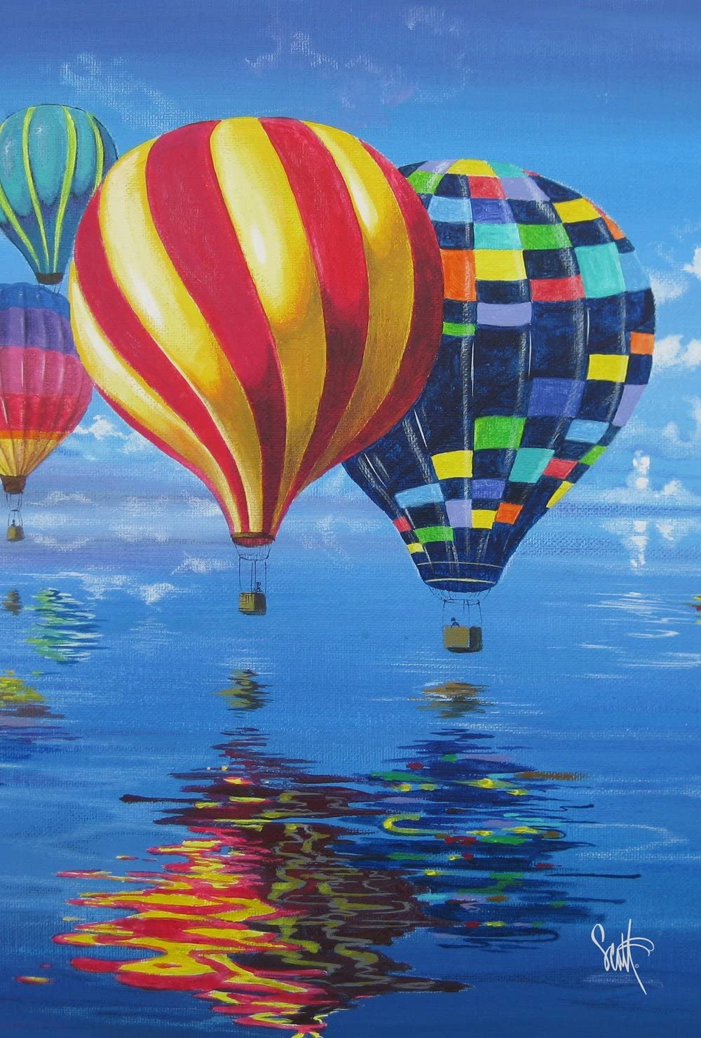 Toland Home Garden Flight of The Balloons 28 x 40 Inch Decorative Colorful Summer Hot Air Reflection House Flag