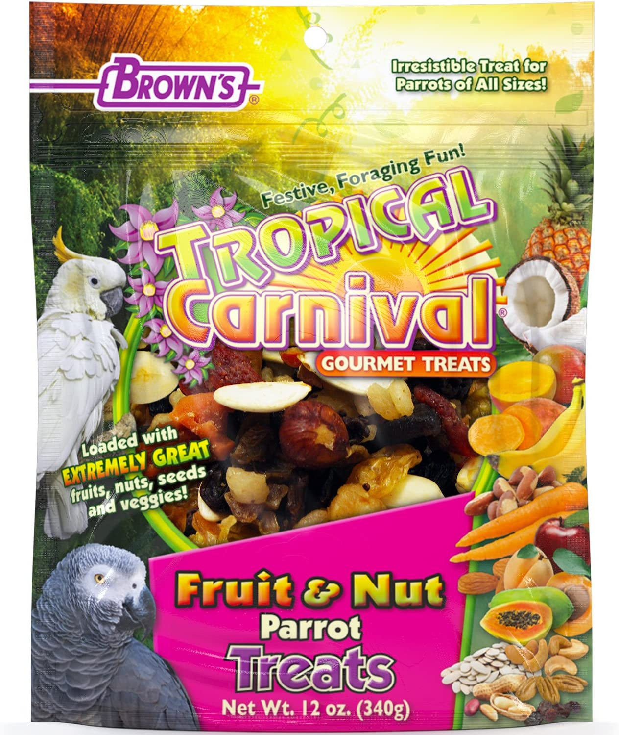 F.M. Brown's Tropical Carnival Fruit & Nut Parrot Treat with Natural Fruits, Nuts, Seeds and Veggies, 12-oz Bag - Excellent Reward for Training Parrots of All Sizes
