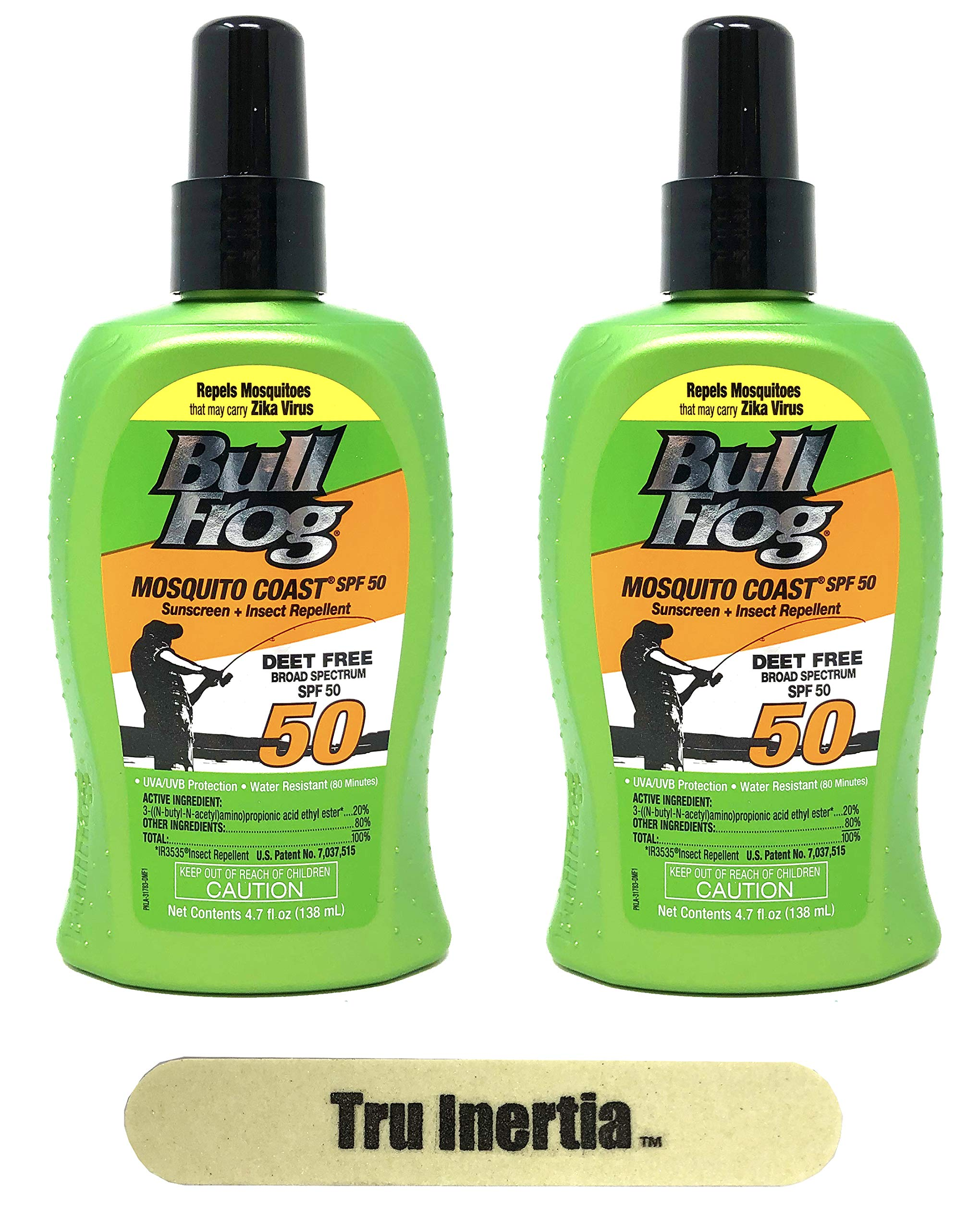 Bullfrog Mosquito Coast Broad Spectrum SPF 50 - Insect Repellent and Sunscreen Pack of 2 (4.7 oz Per Bottle) - Deet Free, Water Resistant, UVA/UVB Protection with Tru Inertia Nail File