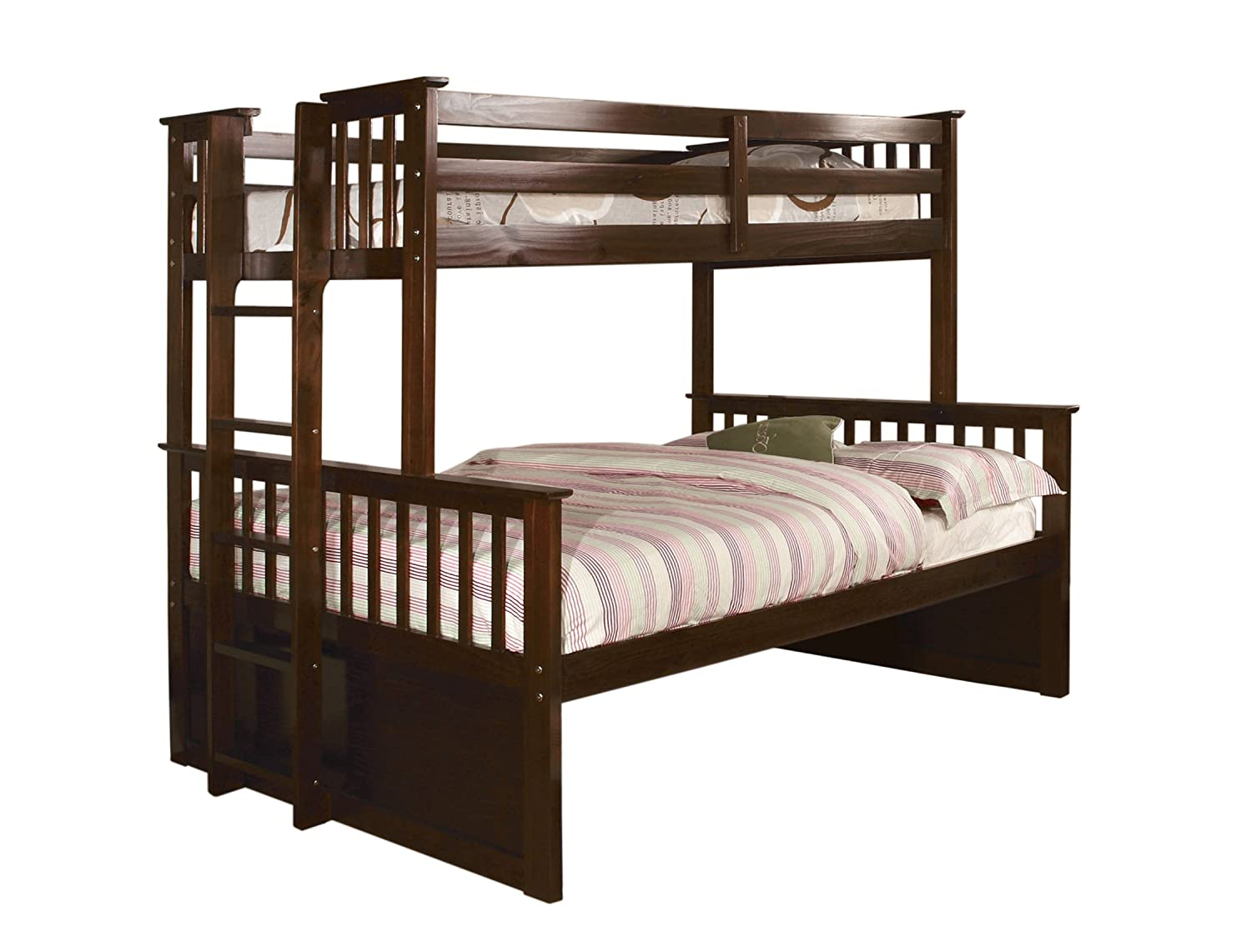 Amazon.com: Furniture of America Pammy Twin over Queen Bunk Bed, Oak ...