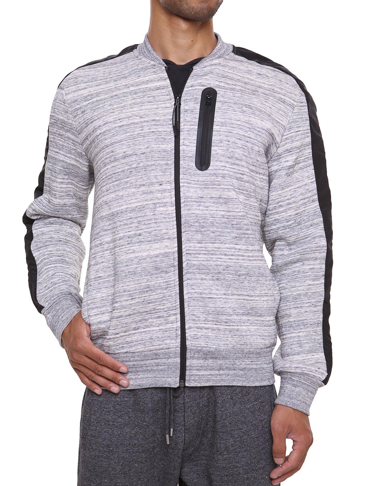 Fleece Sweatshirt Jacket Dotswarm Sweater-Comfort Front Zip Jacket Cozy Sport Outwear Casual,Zebra Melange,X-Large