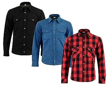 comprar bien recoger nueva productos calientes Camisa de moto para hombre con textura Kevlar forrada ...