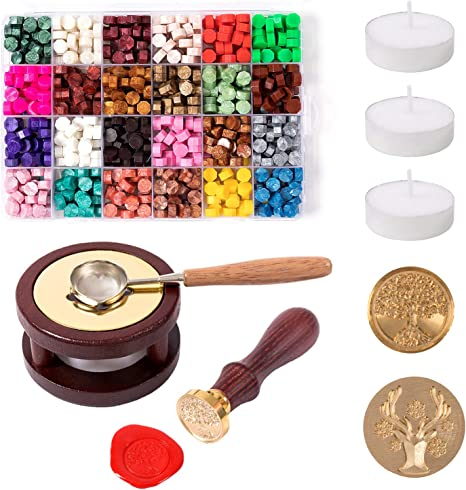 600 Pcs Octagon Sealing Wax Beads with 1 Pcs Melting Furnace Wax Seal Set 1 Pcs Tree of Life Stamp 4 Pcs Tea Candles and 1Pcs Wooden Handle Wax Melting Spoon 10 Pcs High-Grade Vintage Envelope