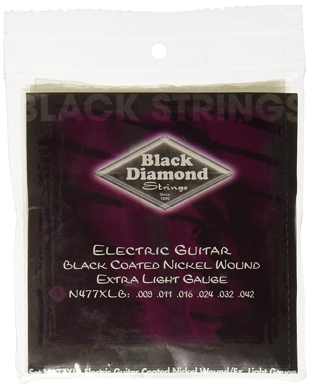 Amazon.com: Black Diamond N477XLB Black Coated Nickel Wound Electric Guitar Strings, Extra Light: Musical Instruments