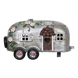 """Exhart Fairy Camping Trailer Statue w/Solar Accent Lights - Mini Silver Camper Trailer Resin Statue – Ideal Garden Décor for Camping Fairy Park, Campground, Trailer Park and More 5"""" L x 10"""" W x 6"""" H"""