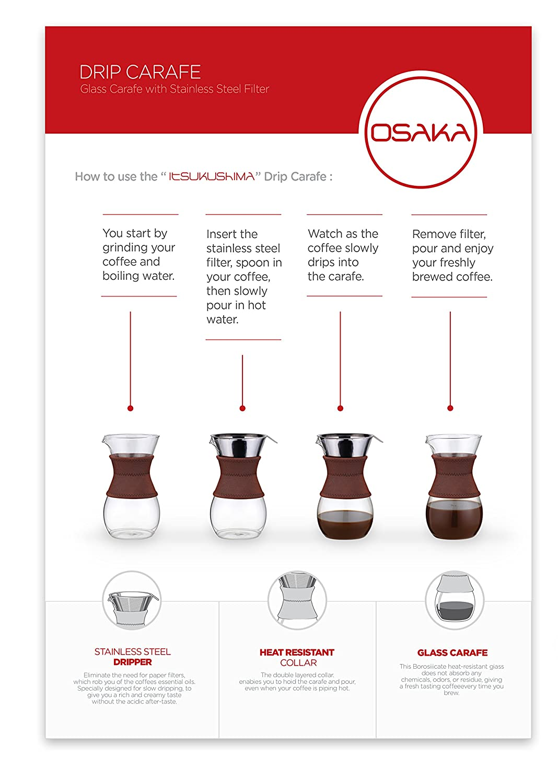 amazon com osaka pour over drip brewer 6 cup 27 oz glass