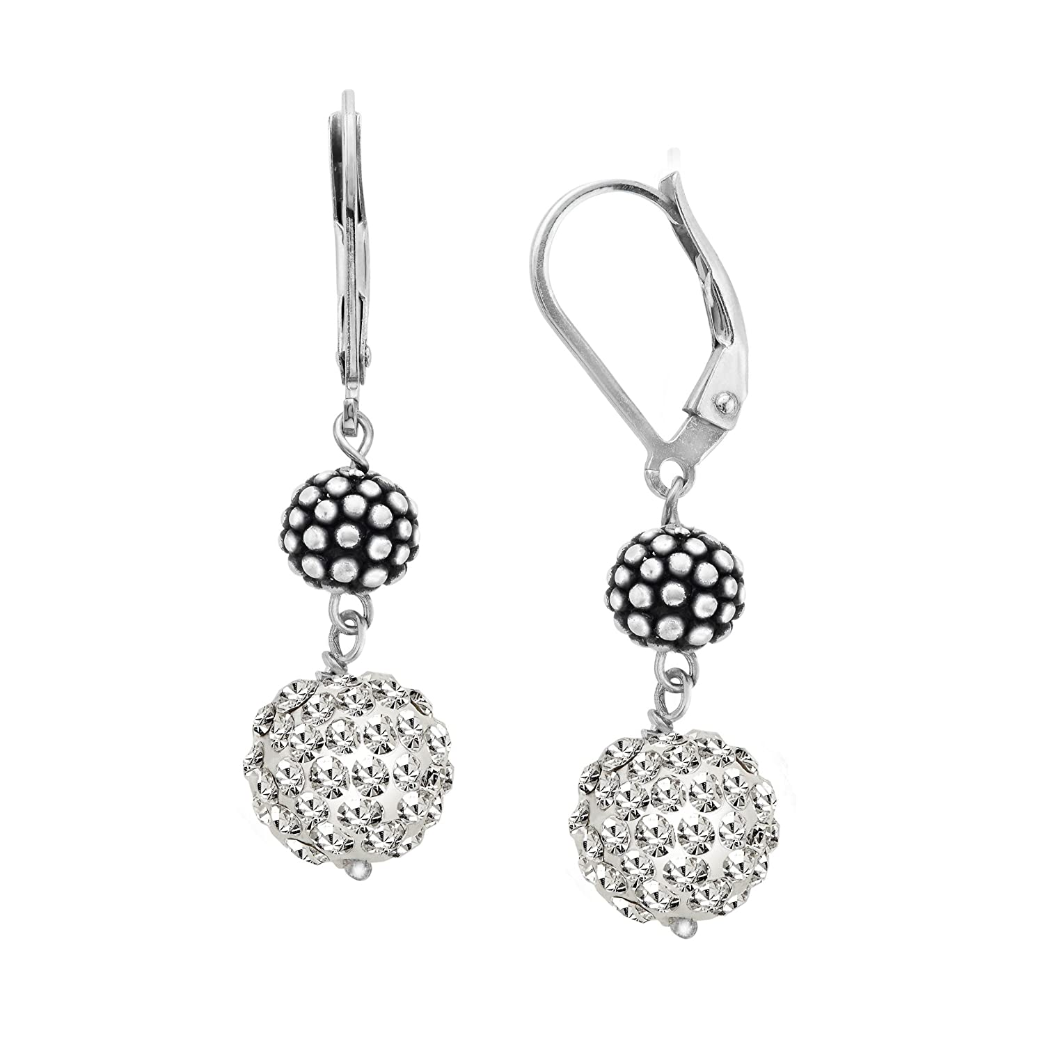 f412f39b87bff Amazon.com: Ball Drop Earrings with Swarovski Crystals Pavé in ...