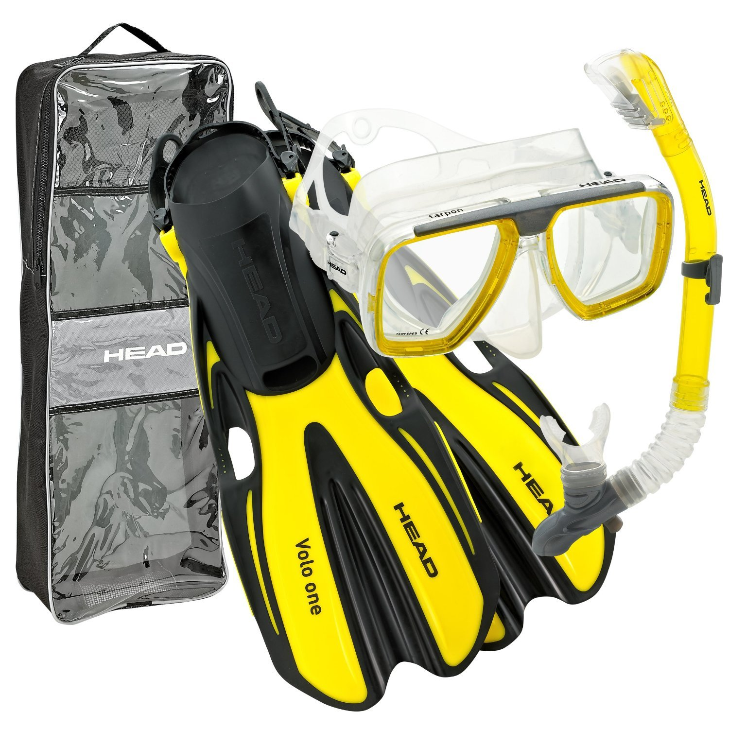 HEAD Mares Tarpon Mask/Snorkel/Fin Set, Yellow, Large by HEAD