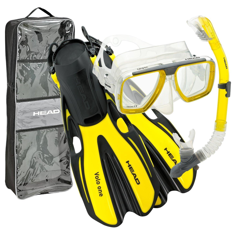HEAD Mares Tarpon Mask/Snorkel/Fin Set, Yellow, Medium