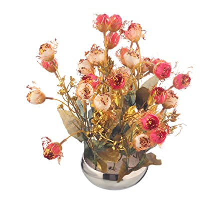 9024b4af231 Buy CAAJIB Lucky Charm Rose Artificial Flower Plant with Vase Pot for Home  Décor Decorative Flowers