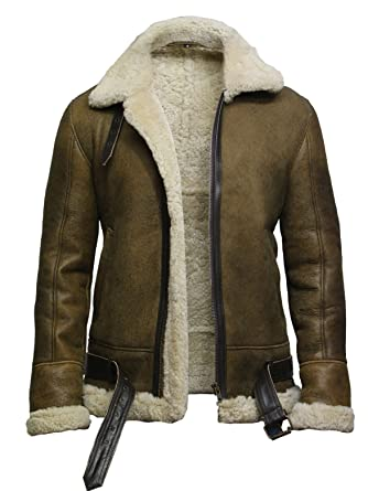 Brandslock Mens Aviator Real Shearling Sheepskin Leather Bomber Flying Jacket (XS, Rustic)