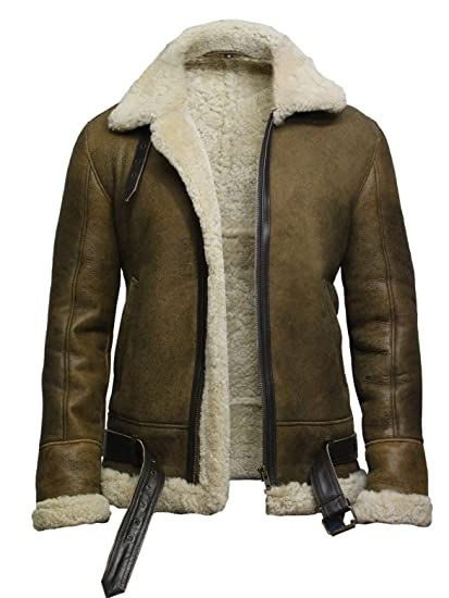 46aa112f1 Brandslock Mens Pilot Aviator B3 WWII Genuine Shearling Sheepskin Leather  Bomber Flying Jacket Thick Wool Inside