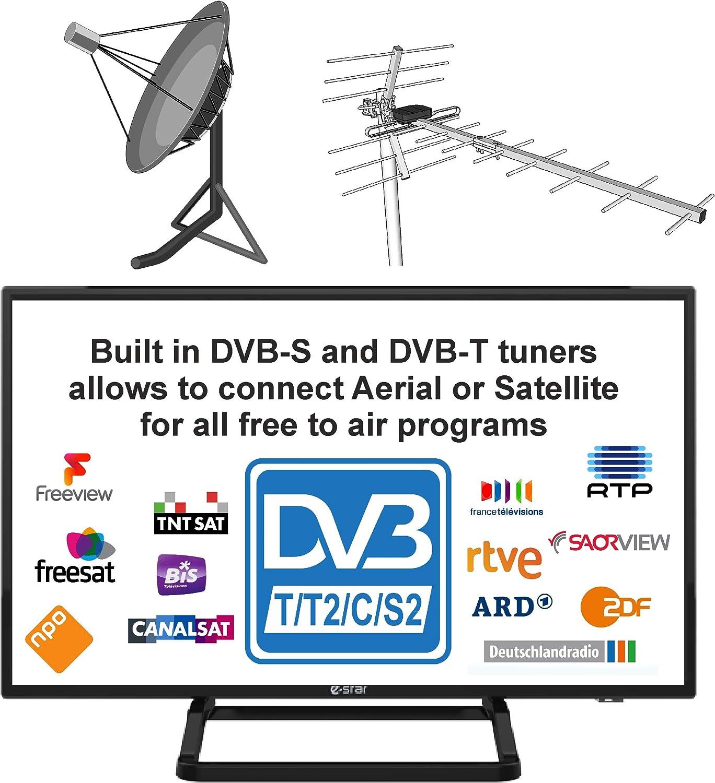 Autocaravanas Cravana Camper Barco 12v 24 Pulgadas 61 cm LED HDR Digital TV DVB-T2/C/S2 TDT, Cable, Satélite TV. 12V 220V USB PVR & Reproductor ...