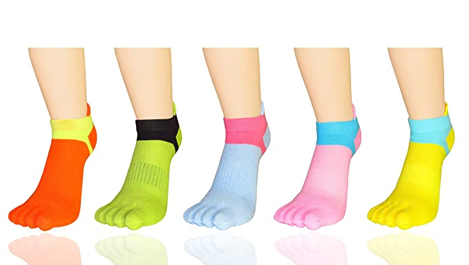 MYMYU Women Girls Pilates Low Cut Five Finger Toe Socks Cotton Design Novedad Yoga Calcetines 5
