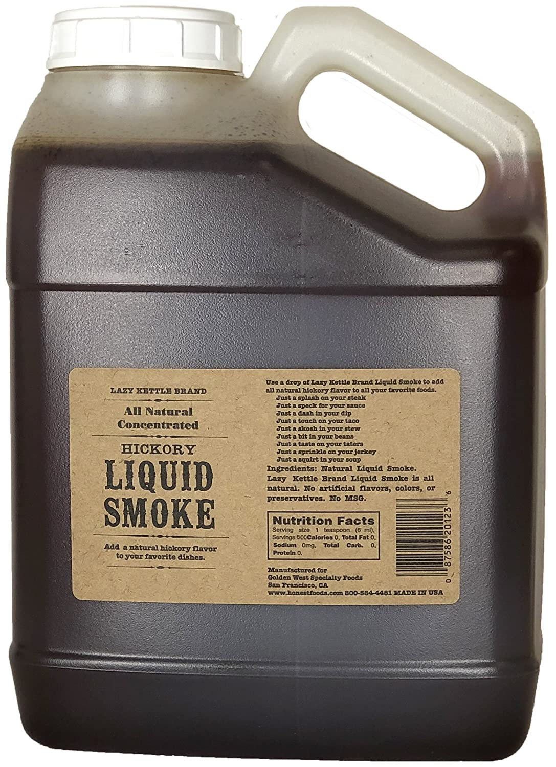 Lazy Kettle All-Natural Liquid Smoke, Hickory Smoke Great for Cooking 128 oz