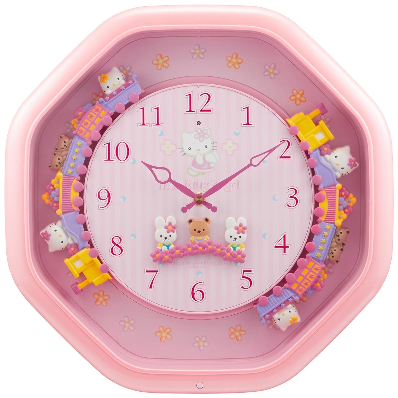 Hello Kitty (ハロー キティ) からくり キャラクター 掛け時計 アナログ ハローキティ M766B 12曲 メロディ ピンク リズム時計 4MH766MB13 B00FIXJCXA