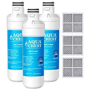 AQUACREST MDJ64844601 Refrigerator Water Filter, Compatible with LG LT1000P, LT1000PC, LT-1000PC MDJ64844601 and LT120F Combo 3 Pack