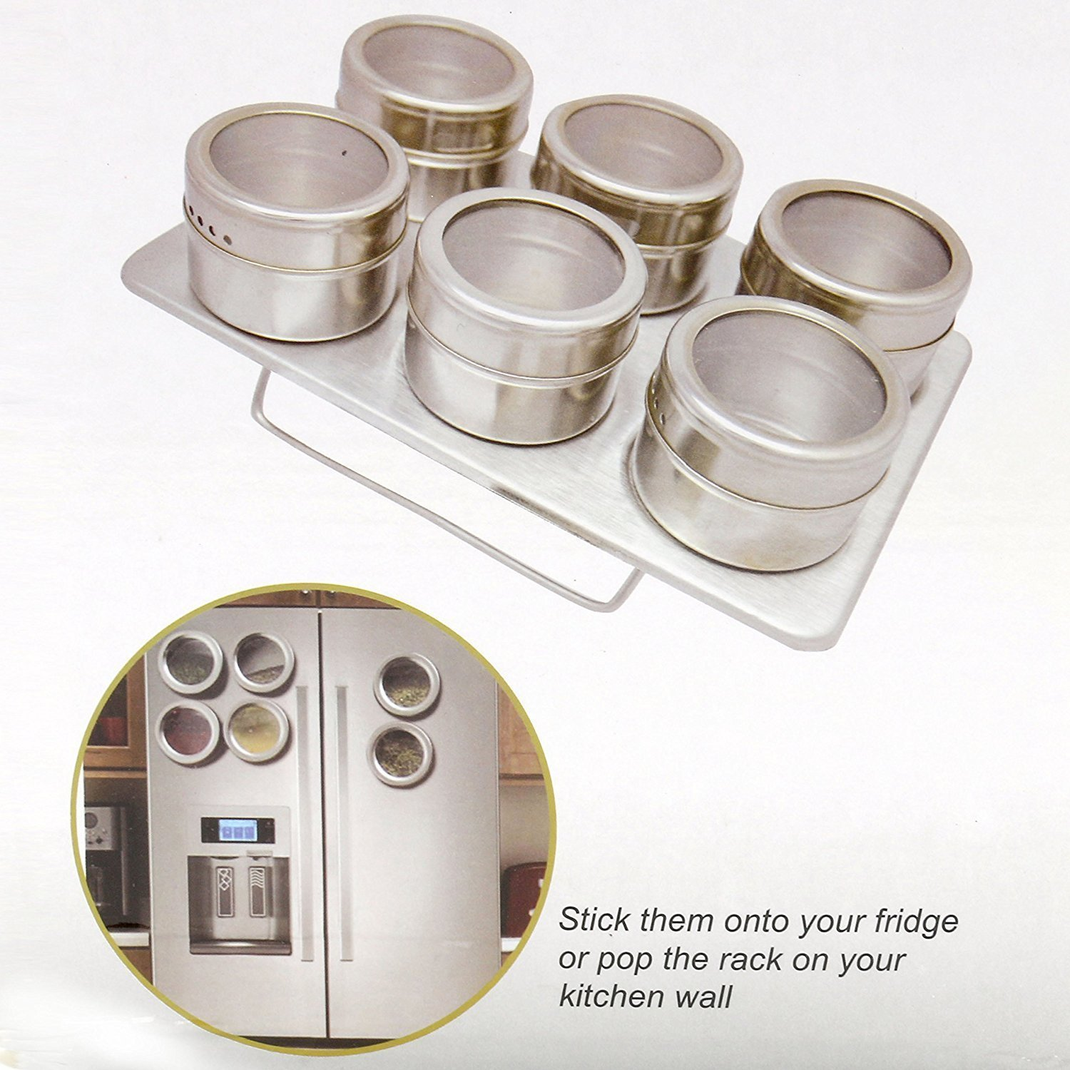 YaeKoo Stainless Steel Magnetic Multi-Purpose Spice Storage Tins, Set of 6,The Metal Salver Included Yaemart Corportation