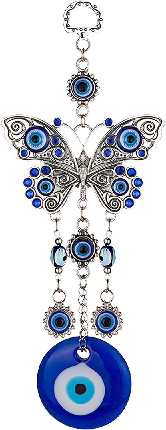 ME9UE Blue Evil Eye Butterfly 7.65 Inches Pendant Decoration, Lucky Butterfly Key Ring Hanging Ornament Amulet for Car, Home and Office for Protection and Blessing