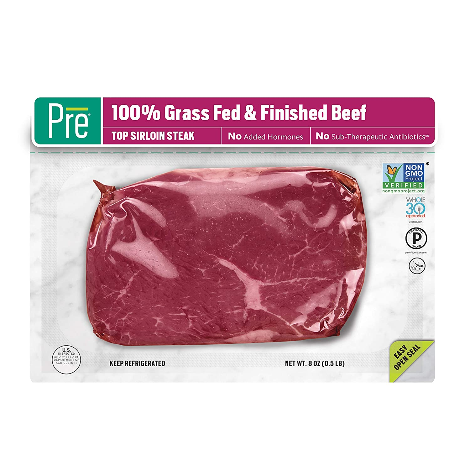 Pre, Top Sirloin Steak – 100% Grass-Fed, Grass- Finished, andPasture-Raised Beef – 8oz.