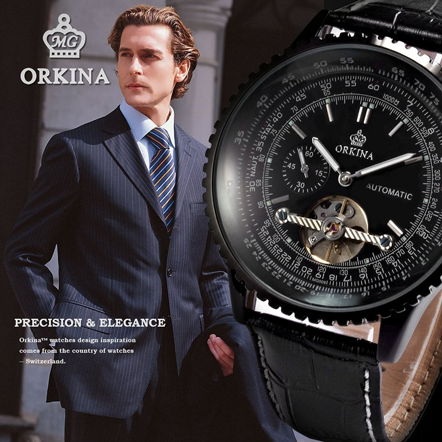 Carrie Hughes Men s Fashion Tourbillon Stainless Steel Leather Automatic Mechanical Watch
