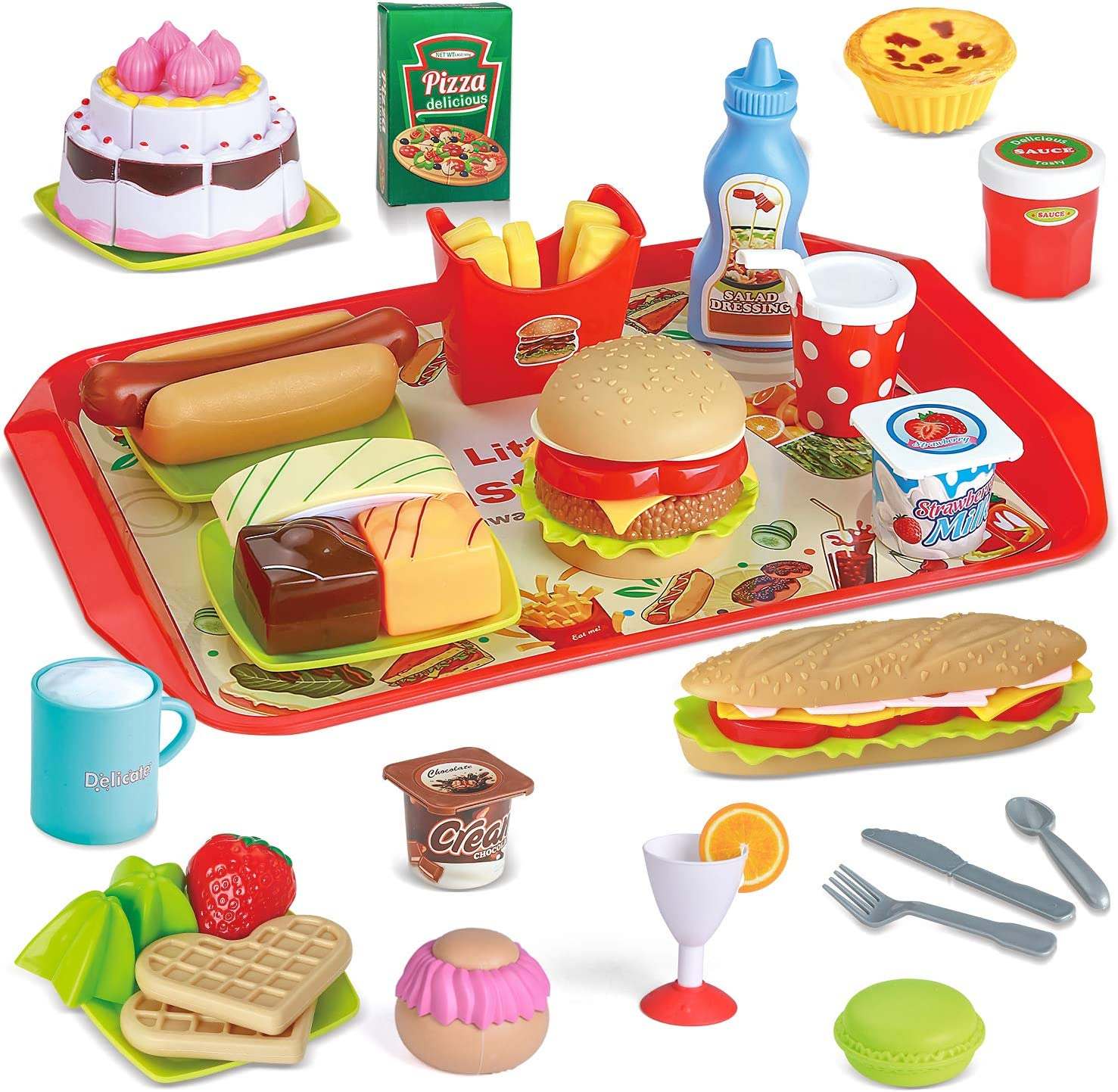 49 PCs Play Food for Kids Kitchen, Toy Foods with Cutting Fruits, Cake and Fast Food for Pretend Play, Play Kitchen Accessories