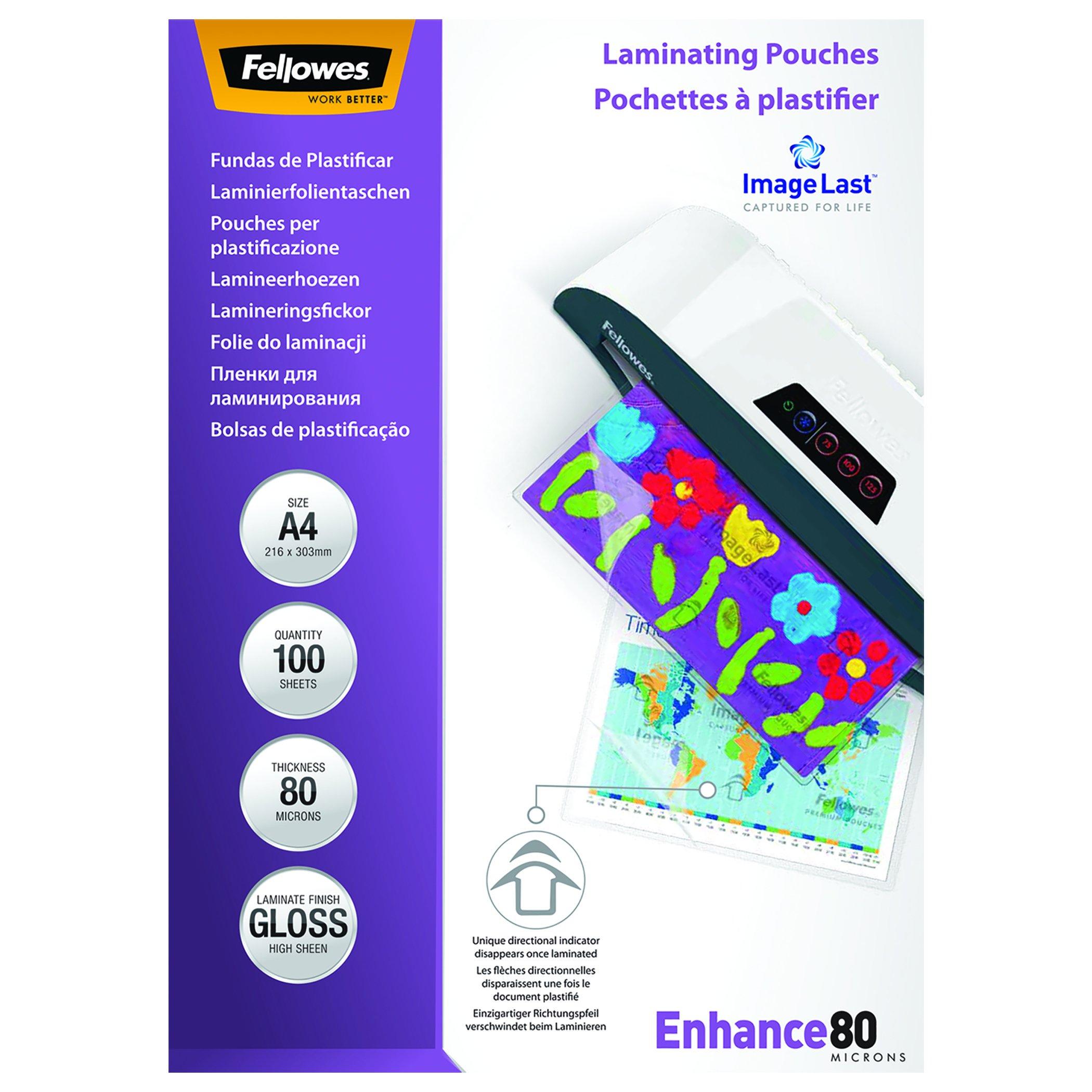 Fellowes 53061 - Pack de 100 fundas para plastificar, brillo, formato A4, 80