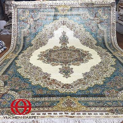 Silk Persian Rugs 9x12 Green Oriental Handmade Area Rugs For Living Room Yuchen Carpet