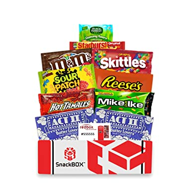Redbox Movie Night Care Package with Popcorn, Candy and Movie Rental for College Students, Father's Day Gift Ideas, Birthday and Finals (10 Items) From Snack Box
