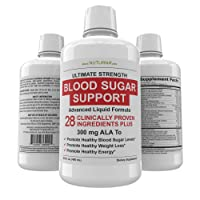 Blood Sugar Support Liquid Supplement - 28 Vitamins Minerals and Herbs with 300 mg Alpha Lipoic Acid Multivitamin Formula - Support for Energy & Vitality, Healthy Body Weight and Blood Sugar Control