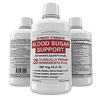 Blood Sugar Support Liquid Formula - 28 Vitamins Minerals and Herbs with 300 mg...