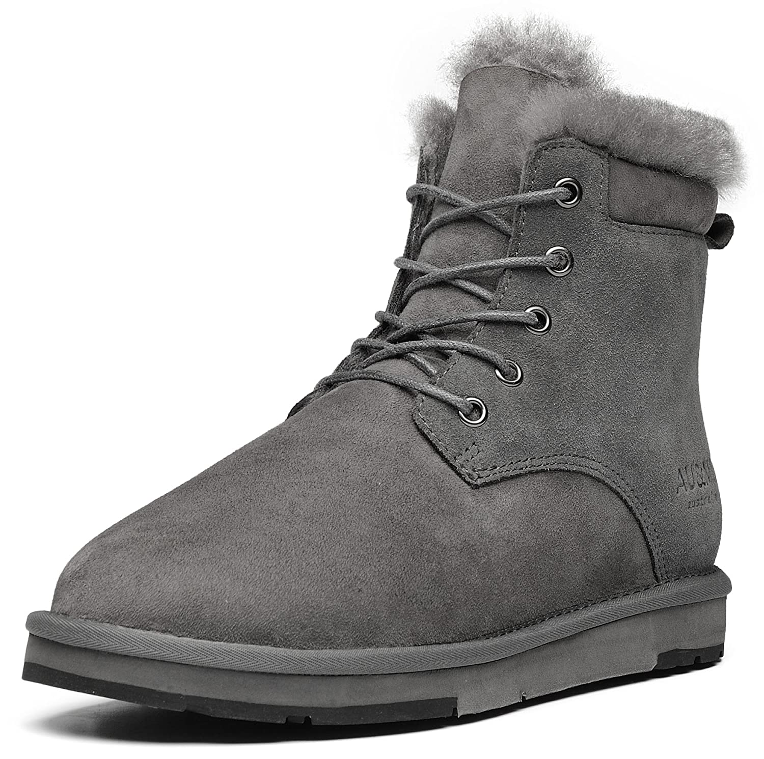 AU&MU Women's Full Fur Sheepskin Suede Winter Snow Boots B073F4TV1Q WOMEN 11 B(M)US/MEN 10 D(M)US|Grey