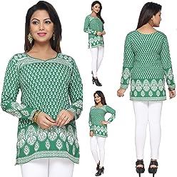 Unifiedclothes Women Fashion Printed Short Indian Kurti Tunic Kurta Top Shirt Dress 142D