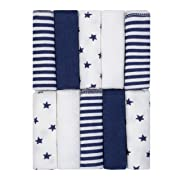 Just Born 10-Piece Terry Washcloth, Navy/White, One Size