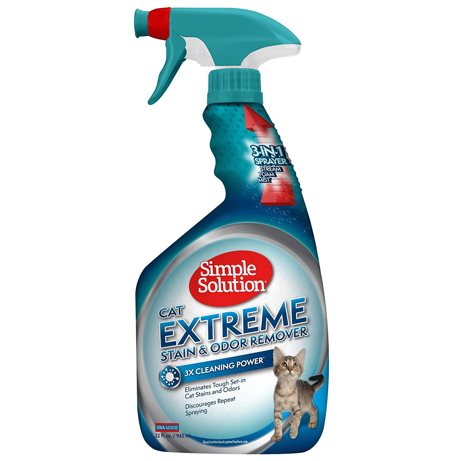 Simple Solution Cat Stain and Odor Remover | Pro-Bacteria and Enzyme Formula | Eliminate Tough Cat Stains and Odors