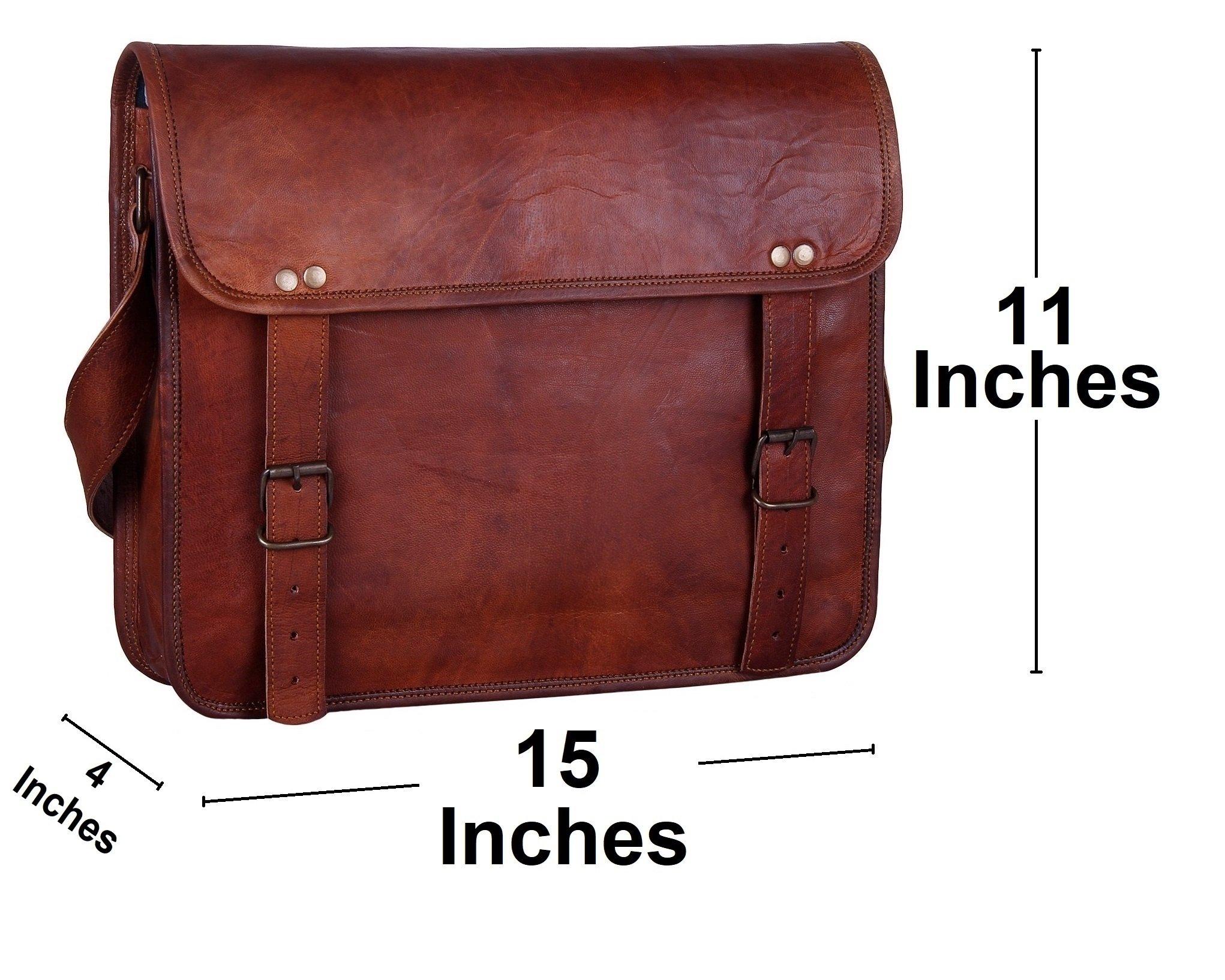 Rustic Town 15'' Genuine Leather Handmade Crossbody Messenger Satchel Laptop Bag by RusticTown (Image #3)