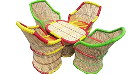 PatioStack Bamboo Outdoor Vintage Rattan & Wicker Sitting Table Chair Furniture Set for Garden / Terrace / Lawn and Living Room [ 4 Chair, 1 Table ]