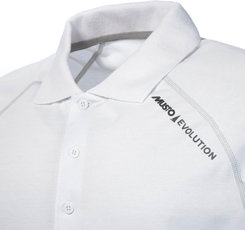 Musto Haut Polo /à Manches Courtes Sunblock Evolution Blanc /À Porter comme Couche de Base ou Seul par Temps Chaud
