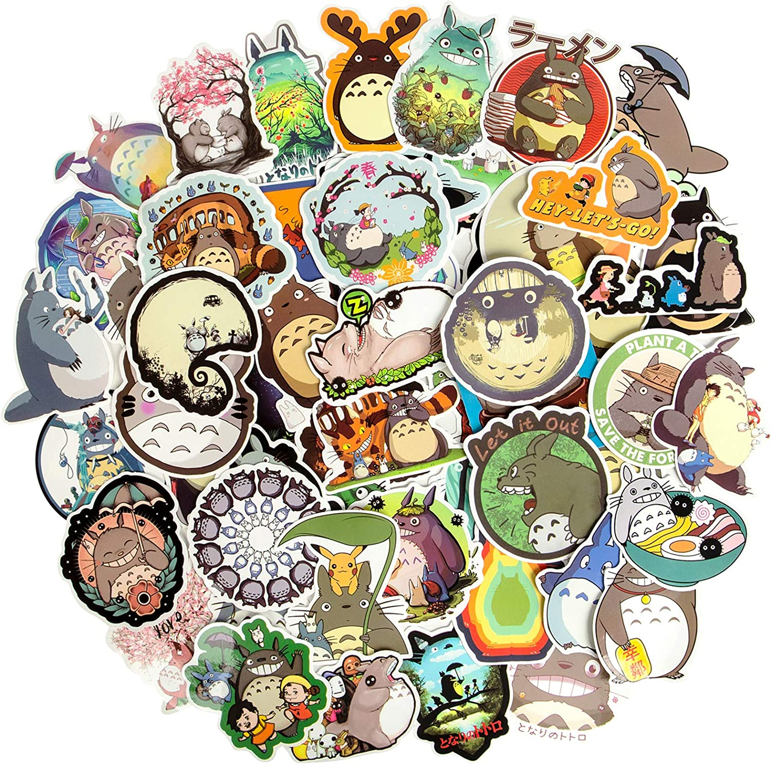 My Neighbor Totoro Stickers, Cute Cartoon Anime Stickers Waterproof Vinyl Stickers for Water Bottles Skateboard Stickers Laptop Stickers for Teens Luggage MacBook Bicycle Snowboard Decals[64PCS]