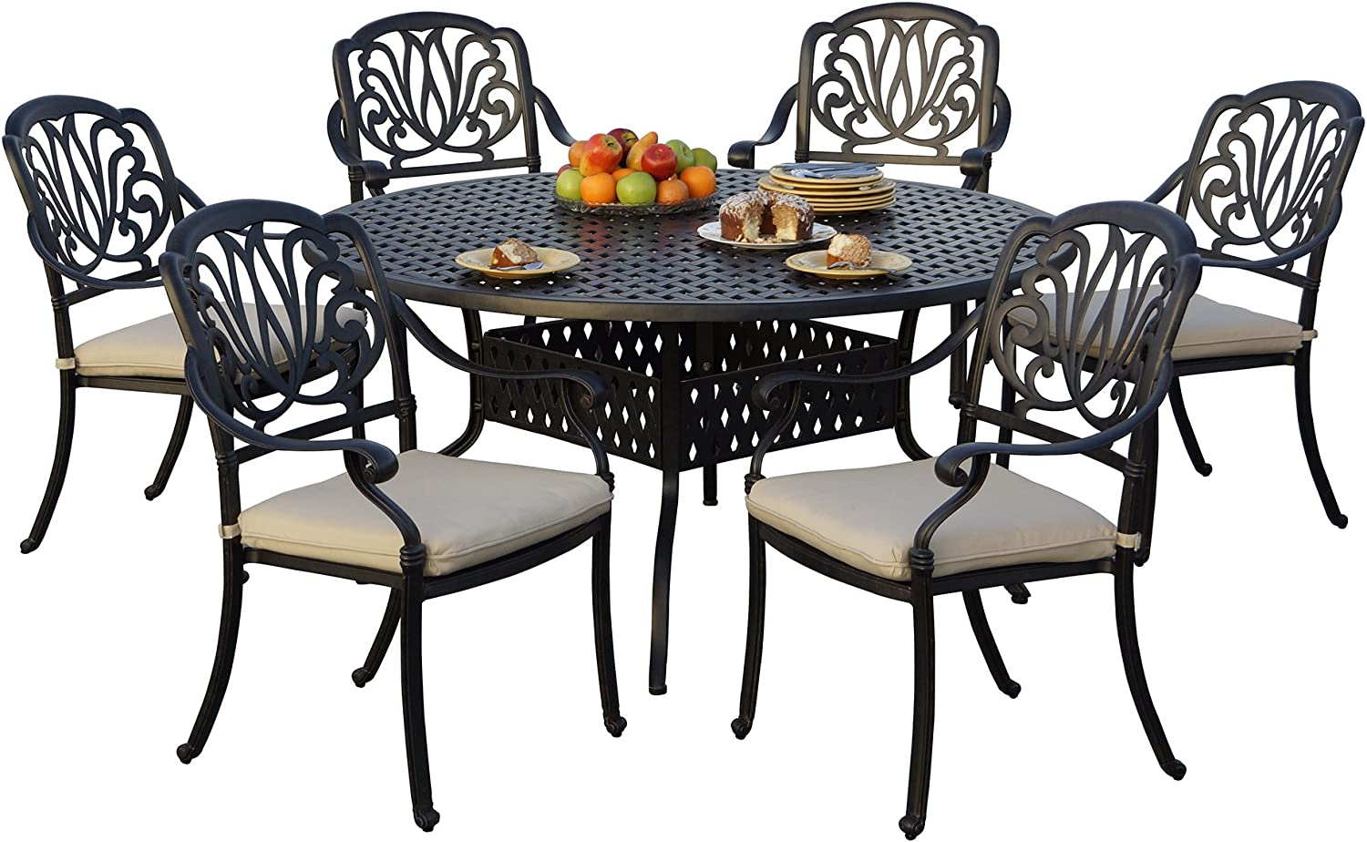 """AC HOME & PATIO Cast Aluminum 7 Piece Outdoor Dining Set with 59'' Round Table, 60"""", Desert Bronze Finish 811-1y3ODoLSL1500_"""
