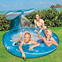 Intex Inflatable Whale Spray Kiddie Pool for Kids, 82X62X39-inch, 3 Years (Blue)