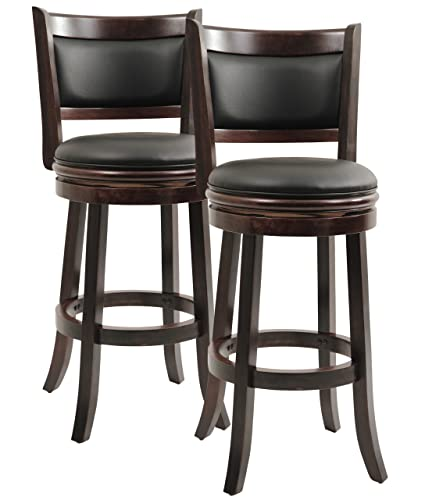 Boraam Augusta Bar Height Swivel Stool, 29-Inch, Cappuccino, 2-Pack