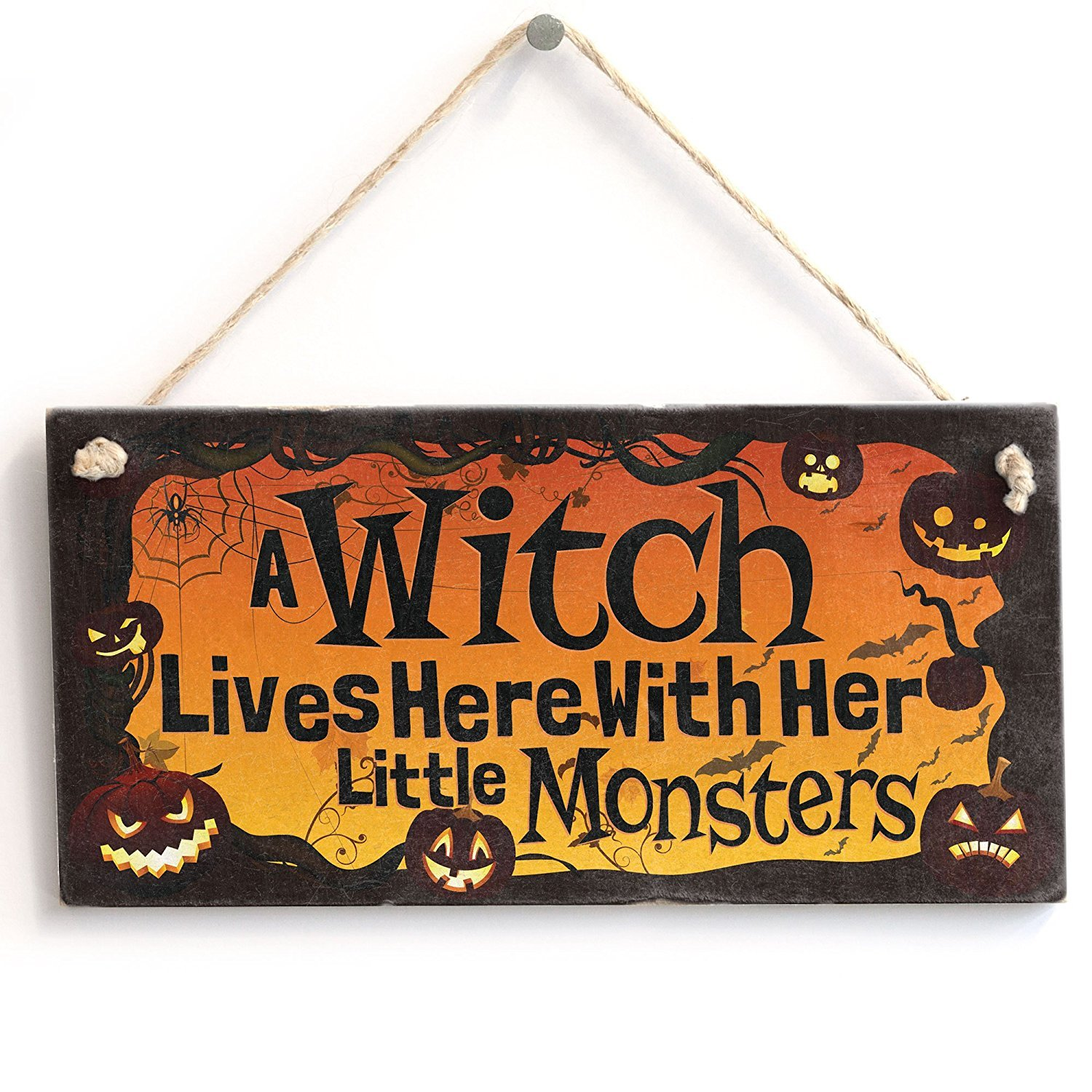 Meijiafei A Witch Lives Here With Her Little Monsters Sign / Plaque 10''x5''