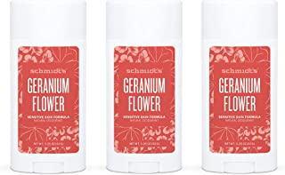 product image for Schmidt's Aluminum Free Natural Deodorant for Women and Men, Geranium Flower for Sensitive Skin with 24 Hour Odor Protection, Certified Cruelty Free, Vegan Deodorant, 3.25 oz 3-pack