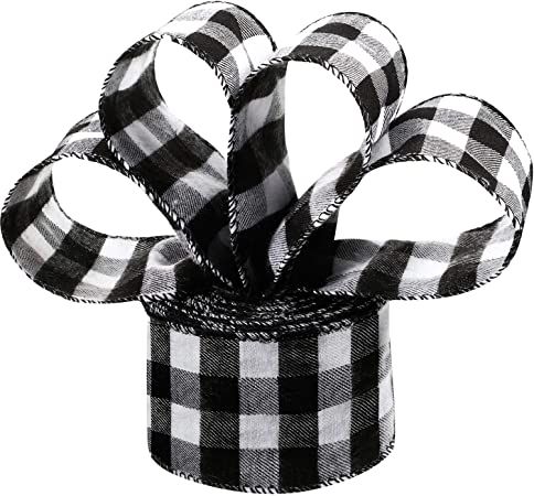 2 meters Black and White Striped Grosgrain Ribbon Gift wrap decor
