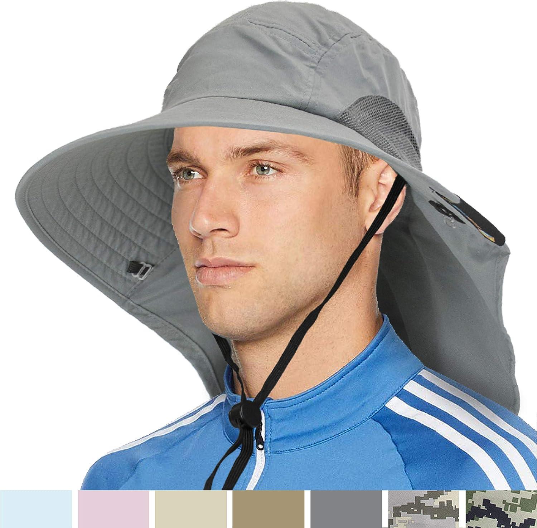 Wide Brim Sun Hat with Neck Flap, UPF50+ Hiking Safari Fishing Hat for Men Women