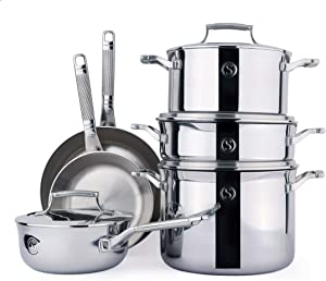 SAVEUR SELECTS 10-piece Tri-ply Stainless Steel Cookware Set, 6 Essential Pots and Pans, 4 Interchangeable Lids, Induction-ready, Dishwasher Safe, Voyage Series