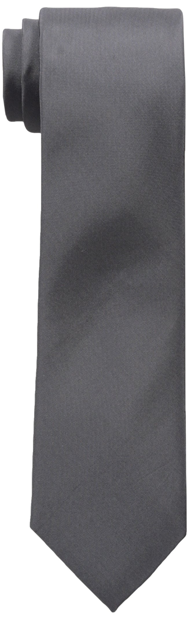 Calvin Klein Men's X Liquid Luxe Solid Necktie, Charcoal, One Size